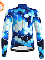 cheap -21Grams Men's Long Sleeve Cycling Jersey Winter Fleece Blue Camo / Camouflage Bike Top Mountain Bike MTB Road Bike Cycling Fleece Lining Warm Sports Clothing Apparel / Stretchy / Athleisure