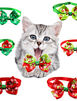 cheap -Dog Cat Collar Christmas Dog Collar Tie / Bow Tie Adjustable Flexible Outdoor Santa Claus Snowman Christmas Tree Nylon Golden Retriever Corgi Bulldog Bichon Frise Schnauzer Poodle Red 6pcs