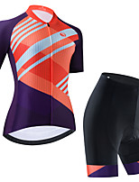 cheap -Women's Short Sleeve Cycling Jersey Cycling Jersey with Bib Shorts Cycling Jersey with Shorts Black Purple Black / White Stripes Bike Breathable Quick Dry Sports Stripes Mountain Bike MTB Road Bike
