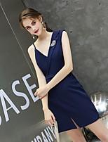 cheap -Sheath / Column Minimalist Sexy Homecoming Party Wear Dress V Neck Sleeveless Short / Mini Spandex with Split 2020
