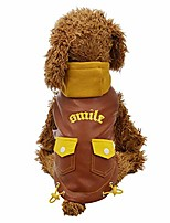 cheap -gornorriss dog winter coat pu leather motorcycle hoodies jacket with two pocket for dog, pet clothes leather waterproof jacket