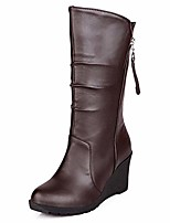 cheap -women mid-calf wedge boots brown