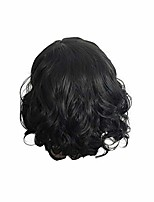 cheap -clearance 11 inch strongly scalable black wave bob curly brazilian wigs for black women full rose net (1 wig, black)