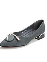 cheap -Women's Heels Chunky Heel Pointed Toe Casual Daily Walking Shoes PU Solid Colored Almond Black Blue