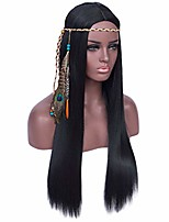 "cheap -qaccf long straight middle parting heat resistant black costume cosplay women wig (32"", whole set)"