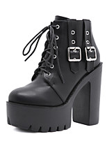 cheap -Women's Boots Chunky Heel Round Toe Booties Ankle Boots Daily Walking Shoes PU Buckle Lace-up Solid Colored Black / Mid-Calf Boots