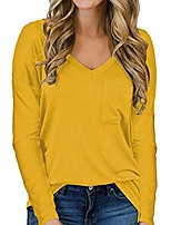 cheap -women's long sleeve v-neck shirts loose casual soft tee t-shirt tops (yellow, small)