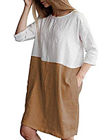 cheap -women summer cotton linen dress 1/2 sleeve loose oversize tunic dress plus size sundress with pockets size 8 10 12 14 16 18 20 22 (tag m/uk 10, earthy yellow)