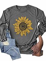 cheap -women sunflower shirt peace cute funny graphic tees casual long sleeve t shirt tops grey