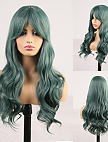 cheap -Cosplay Costume Wig Synthetic Wig Wavy Body Wave Middle Part Neat Bang Wig Long Green Synthetic Hair Women's Odor Free Fashionable Design Soft Green / Heat Resistant