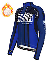 cheap -21Grams Men's Long Sleeve Cycling Jacket Winter Fleece Polyester Blue Green Bike Jacket Top Mountain Bike MTB Road Bike Cycling Thermal Warm Fleece Lining Breathable Sports Clothing Apparel