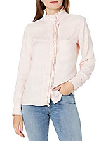cheap -women's modal twill ruffle button-front shirt, pink/white stripe, medium