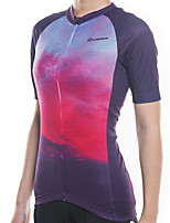 cheap -Women's Short Sleeve Cycling Jersey Cotton Purple Bike Jersey Top Mountain Bike MTB Road Bike Cycling Breathable Quick Dry Reflective Strips Sports Clothing Apparel / Stretchy / Athleisure