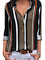 cheap -lannychic women's stripes button down shirts roll-up sleeve tops v neck casual work blouses tunics - gray s