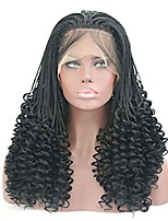 cheap -rongduoyi micro braids wig with curly end black synthetic lace front wigs half braided wigs african hair for black women heat resistant hair 24inch