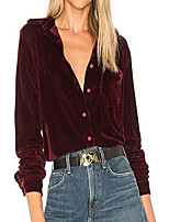 cheap -womens winter velvet long sleeve button down casual tops shirts (small, wine red)