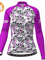 cheap -21Grams Women's Long Sleeve Cycling Jersey Winter Fleece Polyester Purple Skull Christmas Bike Jersey Top Mountain Bike MTB Road Bike Cycling Fleece Lining Warm Quick Dry Sports Clothing Apparel