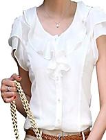 cheap -women blouse short sleeve elegant shirt casual work wear tops black