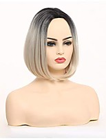 cheap -short bob wigs for women 12'' side part heat resistant synthetic straight wigs halloween cosplay party wig natural as real hair (grey)
