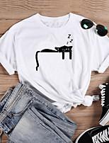 cheap -Women's T-shirt Cat Graphic Prints Print Round Neck Tops 100% Cotton Basic Basic Top White Black Purple