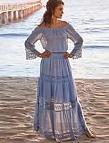 cheap -Women's A-Line Dress Maxi long Dress - Long Sleeve Solid Color Lace Summer Vintage 2020 Light Blue S M L XL
