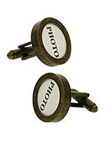 cheap -18.5mm round photo frame diy men's french cufflinks for formal business wedding shirt (bronze)