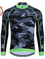 cheap -WECYCLE Men's Women's Long Sleeve Cycling Jersey Winter Fleece Polyester Black Camo / Camouflage Bike Jersey Top Mountain Bike MTB Road Bike Cycling Fleece Lining Breathable Warm Sports Clothing
