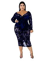 cheap -Women's Sheath Dress Midi Dress - Long Sleeve Print Lace Fall V Neck Plus Size Elegant Sexy Slim 2020 Black Wine XL XXL 3XL 4XL 5XL 6XL