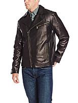 cheap -emanuel men's lambskin leather asymmetrical moto jacket, black, x-large