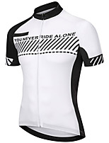 cheap -21Grams Men's Short Sleeve Cycling Jersey Polyester Black / White Bike Jersey Top Mountain Bike MTB Road Bike Cycling UV Resistant Breathable Quick Dry Sports Clothing Apparel / Stretchy / Race Fit