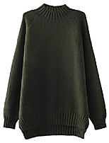 cheap -women's oversized jumpers plain knitwear winter sweater army green xl