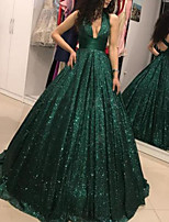 cheap -Ball Gown Sexy Sparkle Quinceanera Formal Evening Dress V Neck Sleeveless Floor Length Sequined with Sequin 2020