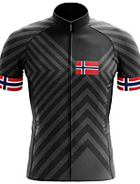 cheap -21Grams Men's Short Sleeve Cycling Jersey Polyester Black Bike Jersey Top Mountain Bike MTB Road Bike Cycling UV Resistant Breathable Quick Dry Sports Clothing Apparel / Stretchy / Reflective Strips