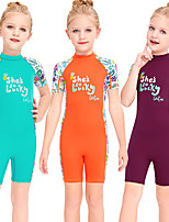 cheap -Girls' Rash Guard Dive Skin Suit Diving Suit Breathable Quick Dry Short Sleeve Back Zip - Swimming Surfing Water Sports Patchwork Summer / Stretchy / Kid's
