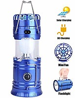 cheap -camping lantern with a mini fan,portable bright solar rechargeable outdoor flashlights tent light with usb power bank for hiking,hunting,camping (bule)