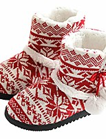 cheap -slippers women ladies indoor slipper boots winter fluffy fur lined indoor house bootie(red,size 3/3.5)