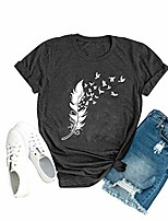 cheap -women feathers graphic shirt summer tops tee casual printed short sleeve blouse l dark grey