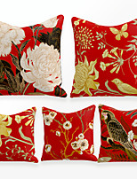 cheap -Cushion Cover 4PCS Linen Soft Decorative Square Throw Pillow Cover Cushion Case Pillowcase for Sofa Bedroom 45 x 45 cm (18 x 18 Inch) Superior Quality Mashine Washable Chinese Style Flowers Birds
