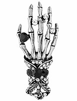cheap -vintage skull hand brooch pins men badge jewelry retro crystal skeleton bone clothes accessories love gift (silver)