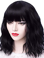 cheap -probeauty merry collection lolita 40cm short curly women lolita anime cosplay wig with full bangs+ wig cap (jet black)