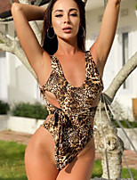 cheap -Women's Fashion Sexy One Piece Swimsuit Leopard Cut Out Bow Print Padded Normal Strap Swimwear Bathing Suits Brown / Padded Bras