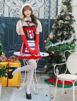 cheap -Santa Suit Costume Adults' Women's Christmas Christmas Festival Christmas Halloween Festival / Holiday Polyester Velour Red Women's Easy Carnival Costumes Solid Color / Dress / Shawl / Gloves / Hat