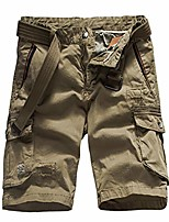 cheap -men's summer loose fit multi pockets twill cargo shorts casual outdoor work short pants with belt khaki