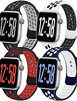 cheap -4 pack sport band compatible for apple watch bands 38mm 40mm 42mm 44mm, breathable soft silicone band replacement wristband men women compatible with iwatch series 1/2/3/4/5/6 se (i, 42ml)