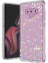 cheap -galaxy note 9 case, colorful confetti printed pattern clear design transparent plastic hard back case with tpu bumper protective case cover for samsung galaxy note 9