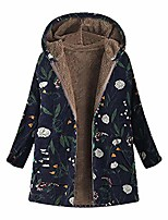 cheap -womens winter warm vintage oversize coats outwear floral print hooded with pockets (xxxxl, navy)