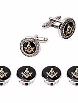 cheap -crystal freemason cufflinks and tuxedo shirt studs formal masonic cuff links studs