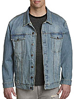 cheap -by dxl big and tall lightwash vintage denim jacket, vintage wash, 5xl