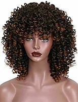 cheap -curly wigs for black women afro wig with bangs ombre hair wigs synthetic heat resistant kinky curly wig shoulder length (6 inch, 1b-30)