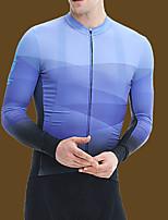 cheap -21Grams Men's Long Sleeve Cycling Jersey Blue Grey Green Gradient Bike Jersey Top Mountain Bike MTB Road Bike Cycling Sports Clothing Apparel / Stretchy / Athleisure